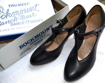 Vintage Rockmount Dance Shoes - Black Mary Jane Ranch Wear Dancing Heels - Size 6M NOS