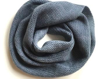 Faded Heathered Teal Grey Möbius Infinity Scarf // Hand Dyed & Handmade