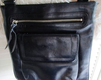 Nordstrom Black Leather Crossbody Handbag Purse 5 Pockets Flat Body Excellent Modern Retro Art Deco