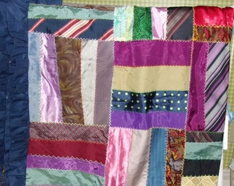 QUILT TOP DIY Fancy Fabrics, 56X66 Inches, Ruffle, Hand Embroidered Seams, Recycled Ties,  Crazy Quilt Style, Appalachian Made.