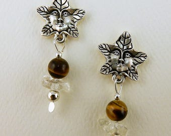 Silver Celtic Irish Greenman Post Earrings with Tiger Eye and Citrine gemstones
