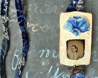 An Untroubled Woman, Assemblage Pendant with Patched Cord