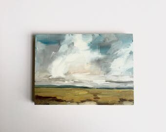 Suisun Marsh Clouds • original oil painting 5x7""