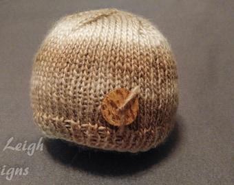 Newborn Knit Beanie Coconut Button Accent