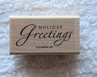 Stamp for Scrapbooking or Card Making- Holiday Greetings-Rubber Stamp