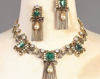 vintage CLEAR GREEN STONE leaf filigree fringe gold plated necklace earrings set 50s 1950s