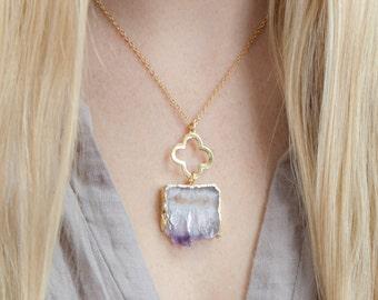 Amethyst Necklace,Crystal Necklace,Druzy Necklace,Amethyst Slice Necklace,Amethyst ,Raw Stone Necklace,Gemstone Necklace,Gift for Her