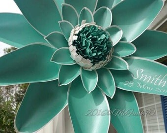 Weddings Handmade Paper Flowers 16 Inch Monogrammed Magnolia in the Colors of Your Choice