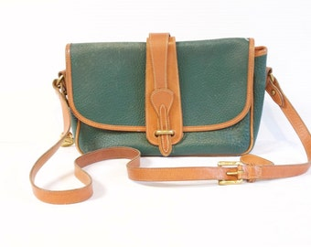 Vintage Green Dooney and Bourke All leather Leather Crossbody Purse Handbag