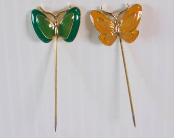 Vintage Butterfly Hat Stick Pin Set - Orange and Green Butterfly Pin