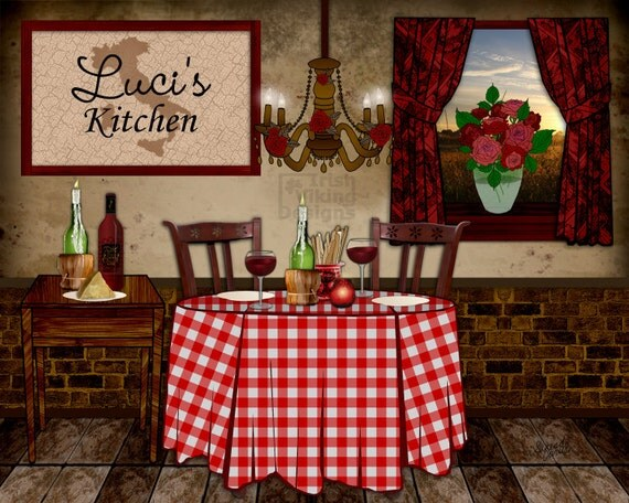 Italian kitchen art personalized print by irishvikingdesigns for Italian kitchen gifts