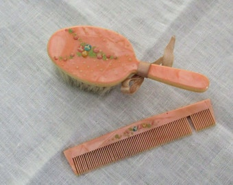 Baby Comb and Brush, Vintage 1954, Pink with Little Flowers, Made in Japan