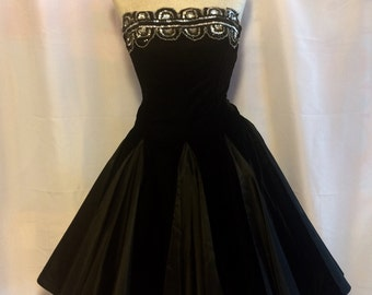 80's does 50's Velvet and Taffeta Party Dress