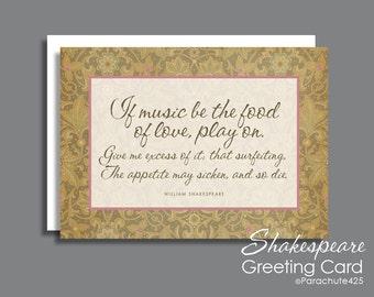Romantic Anniversary, Shakespeare quote, If Music Be Food Of Love, anniversary card, Valentine card, Shakespeare card, romantic birthday