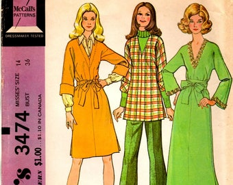 Misses Dress Tunic Kimono Sleeves Side Vents Belt or Drawstring Waist Adult Size 14 Vintage 1970s McCall's 3474 Uncut Sewing Craft Pattern