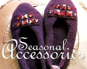 Knitting Brings You Seasonal Accessories Slippers Knee High Socks Calm Shell Beaded Purse Tree Ornaments Scarf Hat Craft Pattern Leaflet 45