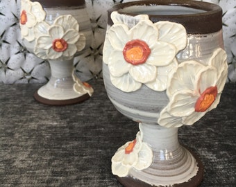 Ceramic Pansy Wine Goblet in Many Colors and Black Mountain
