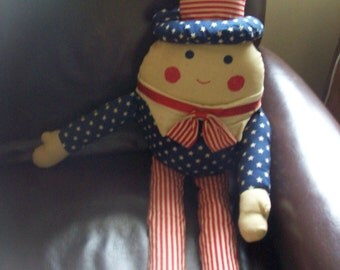 Patriotic Americana Uncle Sam Stuffed Doll Red White Blue July 4th. Decoration