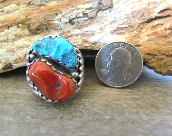 Old Hand Made Sterling Silver Turquoise & Coral Large Ring