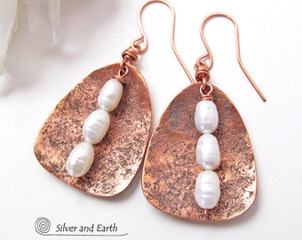 Copper Earrings with Dangling Pearls, Handmade Jewelry, White Pearl Earrings, 7th Copper Anniversary Gift for Her, June's Birthstone Jewelry