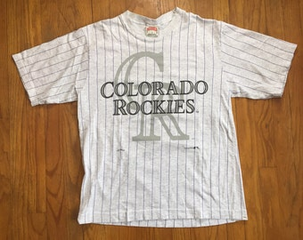 Colorado Rockies purple pinstripe baseball t shirt nutmeg mills medium