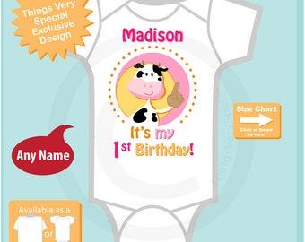 Girl's It's My First Birthday Onesie Farm Theme Birthday with Cow Personalized 1st Birthday Farm Theme (04202017f)