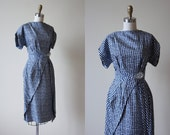 1950s Dress - Vintage 50s Dress - Navy White Houndstooth Silk Draped Cocktail Party Dress S - Estevez Dress