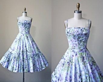 50s Dress - Vintage 1950s Dress - Novelty Print Cotton Lilac Branch Print Full Skirt Sundress XXS XS - Take a Bough Dress