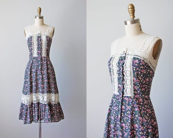 70s Dress - Vintage 1970s Dress - Dark Navy Micro Floral Cotton Full Skirt Empire Sundress S - Sweetest Thing Dress