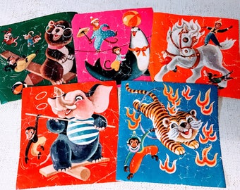 Vintage circus themed labels