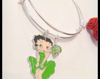 Betty Boop in Green or White Dress Silver Plated Bangle Bracelet with Crystal Birthstone Charm