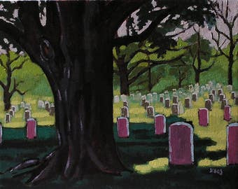 The Fallen At Rest, Cemetary For Veterans, Realistic Plein Aire Style Oil Painting, Colorful Landscape