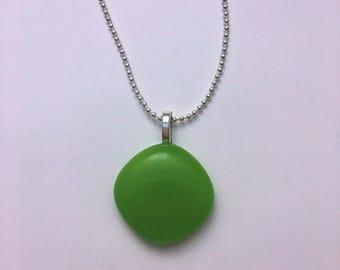 Greenery Green Mini Fused Glass Pendant