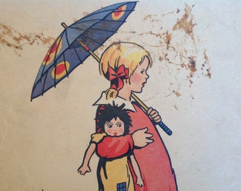 Vintage Alice and Jerry Flash Card 1930s