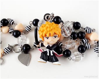 Kurosaki Ichigo Anime Necklace, Beaded Rosary Chain, Figure Pendant, Anime Gifts, OOAK