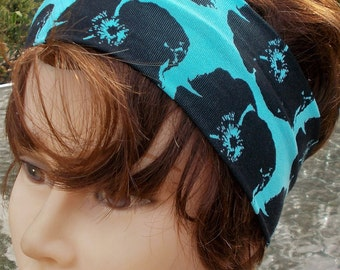 HEADBANd Soft TURQUOISE with Black Flowers KNIT Jersey STRETCH Womens Ladies Girls One Size Fits