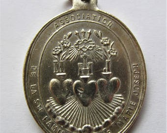 Antique Sacred Hearts Of Jesus, Mary, And Joseph, The Holy Family Religious Medal  Catholic Pendant  SS194