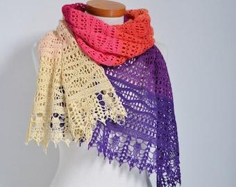 DALENA, Crochet shawl pattern, pdf
