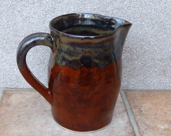 Jug or pitcher hand thrown stoneware handmade pottery wheelthrown ceramic milk water
