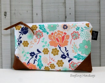 Coral and Mint Floral with Vegan Leather - Zippered Clutch / Pouch - Accessory Make Up Bag -