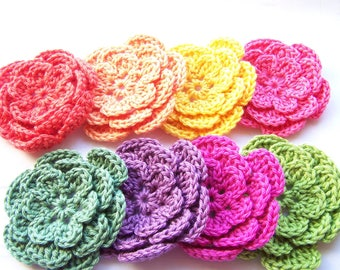 Crochet flowers set of 8 embellishments 3 inch assorted colors