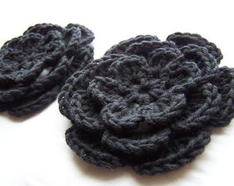 Flower crochet motif 3 inch black flowers set of 2 applique