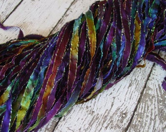 New - Hand Dyed ribbon MAGIC WAND glitters, 5 yards
