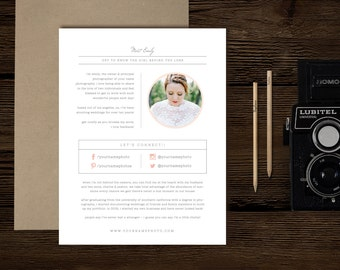 Photography Templates - About Me Page - Digital Photoshop Templates - Photo Marketing - Wedding Photographer Branding - Bittersweet Designs
