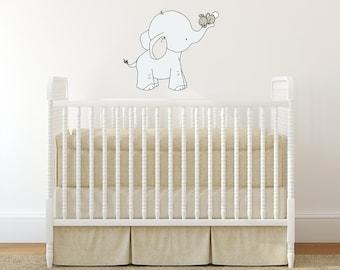WALL DECAL -- Elephant and Bunny Hold On Tight -- Nursery Art