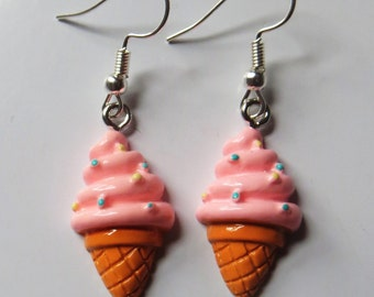 Ice-cream earrings with silver plated fishhook posts
