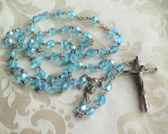Vintage Blue Faceted Glass Bead Rosary