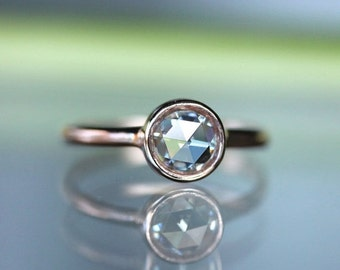 Holidays Sale - Rose Cut Moissanite 14K Yellow Gold Engagement Ring, Stacking Ring (Limited Edition) - Made To Order