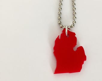 State Necklace in the Shape of Michigan - State Jewelry - Red Lasercut Necklace