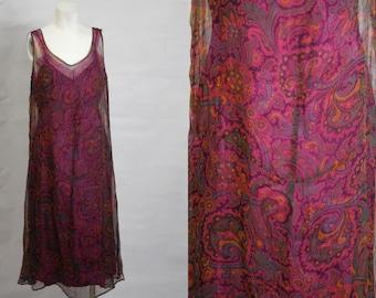 1920s Vintage Fuchsia and Purple Chiffon Paisley Pattern Sheath Dress